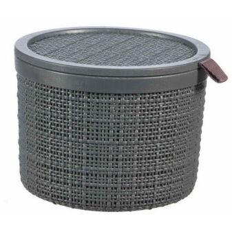 JUTE kerek doboz tetővel 2l - Grafitszürke